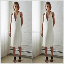 New Design Wide Straps Deep V Neck 2015 White Dresses Formal Dress Satin Open Back Short