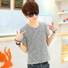 Youth popular short-sleeved t-shirt men young Korean Slim men's cotton V-neck short-sleeved t-shirts wholesale