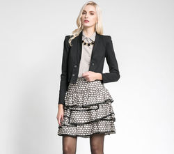 2015 polk dots printed women coat and skirt