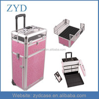 Case Type and Aluminum Rolling Make-up Box with Wheels, ZYD-MK030