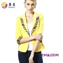 Bright color slim yellow women blazer jacket