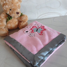 flannel fleece throw applique embroidery with butterfly sewed with 5 cm satin infant blanket