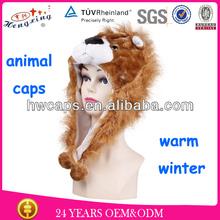 Winter lion animal cap plush animal cap / hat with earflaps