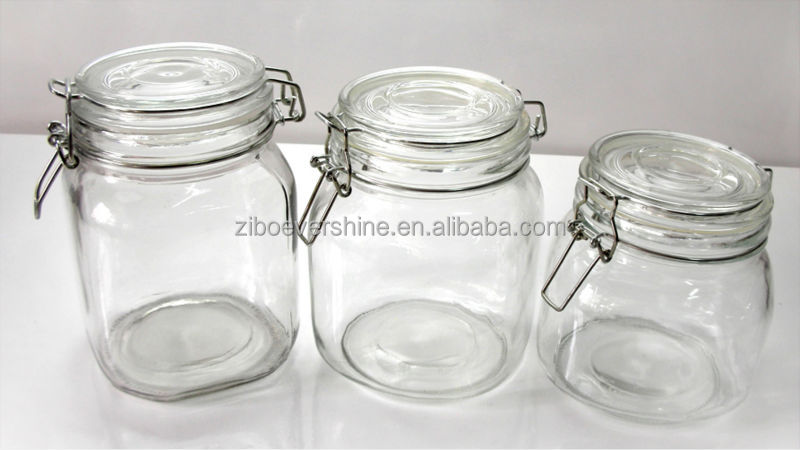 kitchenware glass jars storage container clamp lids for food buy glass jar with clamp lid food. Black Bedroom Furniture Sets. Home Design Ideas