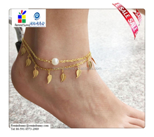 2015 New Fashion Sexy Gold Anklet Ankle Bracelet Pearl Leaf Foot Chain Adjustable Women Jewelry
