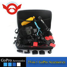 2015 Hot Selling K-5 GoPro accessory kit 25-in-1 for Gopro Hero 4 3 3+ GoPro Camera Accessories