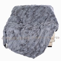 CX-D-37 Wholesale China Patchwork Real Rabbit Fur Throw Blanket