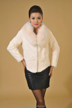Dropshipping genuine fox collar and white rabbit fur coat /wholesale clothes turkey