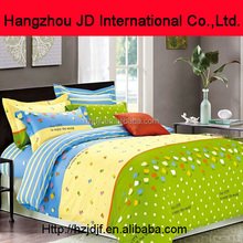 100% cotton yellow green blue tulip pattern striped duvet cover small lovely dots bed sheet