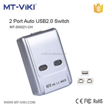 MT-VIKI 1 usb 2.0 port and 2 pcs port mini auto usb sharing switch support hotkey and push button MT-SW221-CH