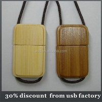 mass production necklace usb dirve bulk 64GB usb wooden flash drive