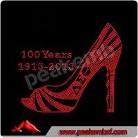 Wholesale 1913-2013 100 Years Rhinestone AEO Iron Ons High Heel Shoes Design