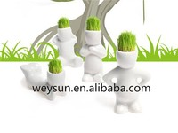 Office Home Decoration Mini DIY White Man Magic Grass Planting