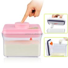 2015 1000 ml rosa con colgante tapa eco friendly fácil apertura y hermético rectángulo de plástico cabras leche en polvo puede