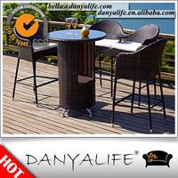 DYBAR-D4401 Danyalife Wicker Weave Open Air Beer Garden Table and Chair