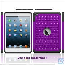 Fashionable PC & TPU Hybrid Case for iPad mini 4, For iPad mini 4 Rugged Case With Decorative Diamonds