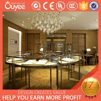 Custom luxury jewelry display show case with ultra clear tempered glass for jewelry store