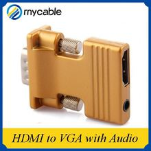 2015 hot sale HDMI female to VGA male adapter or hdmi to vga with audio
