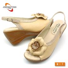 Fancy no heel wedge shoe Ladies sandal