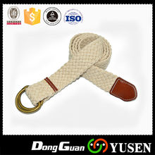 Wholesale White Fashion Double D Ring Braided Cotton Belt
