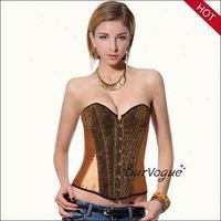 Cheap gold sequin corset models fat women sexy western corset for parties strapless corset bodysuit