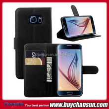 card slot flip leather case for samsung galaxy s6,many colors