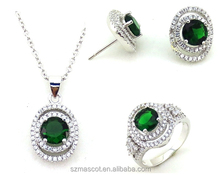2015 Hot Sale Green Color Stone Silver Jewelry Set, 925 Sterling Silver Jewelry Wholesale,