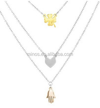 Stainless Steel Clover, Heart and Hamsa Layered Charm Necklace