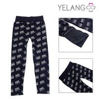 Good quality ladies winter black warm trousers / letters pattern pants