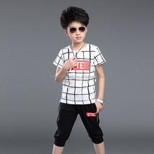 hot sale super comfortable boys clothing set children suit checked t-shirt