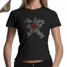 Venta al por mayor letras de diamantes de imitación camisetas de algodón 100%