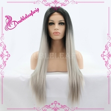 Two tone ombre lace front wigs in miami gray cosplay wig cheap synthetic wig
