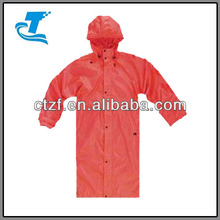 Adult Red PU Long Rain Coat with Hood 2015