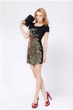 La primavera 2013 nacional bordados de largo- manga tendencia bohemia medio- largo tallas grandes slim uno- pieza de vestir