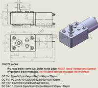 GW370 dc 3v 3r/мин 5.2 об/мин 14 об/мин 26 об/мин 48 об/мин 70 об/мин, электрические червячный редуктор мотор, diy танк робот автомобиля, низкая скорость направлена