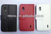 Carbon Fiber Wallet PU Leather Case Cover for Google LG Nexus 4 E960