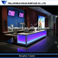 Exclusive LED shining cinema hall artificial marble service desk
