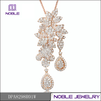 Luxry pave setting 18K rose gold diamond pendant