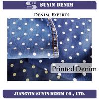 Full tencel round dot printed denim fabric price