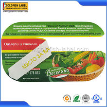 Plastic Container Packaging adhesives frozen food label and sticker