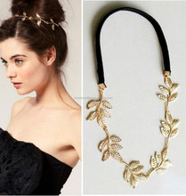 Trendy all match alloy hair accessory branch leaves elastic hair band