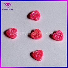 Hot sale 8x8 mm heart pink fire synthetic opal beads