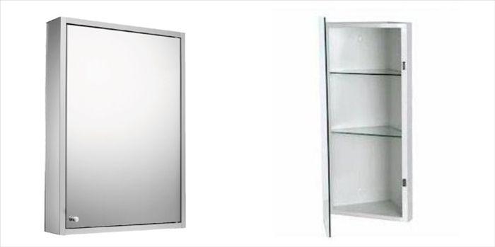 Aluminum Wall Mounted Corner Bathroom Mirror Cabinet