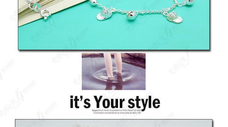 Твердого 925 серебряный колокольчик дамская ножной браслет
