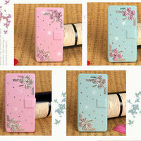 Trendy Diamond Flowers Leather Phone Case for iPhone 5,Back Cover for iPhone Mobile