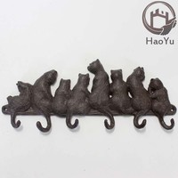 cast iron eight cat shaped hooks for garden decoration