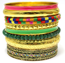 Cheap Indian Traditional Bridal Gold Jewellery Bangles Pink Green Mix Latest Design