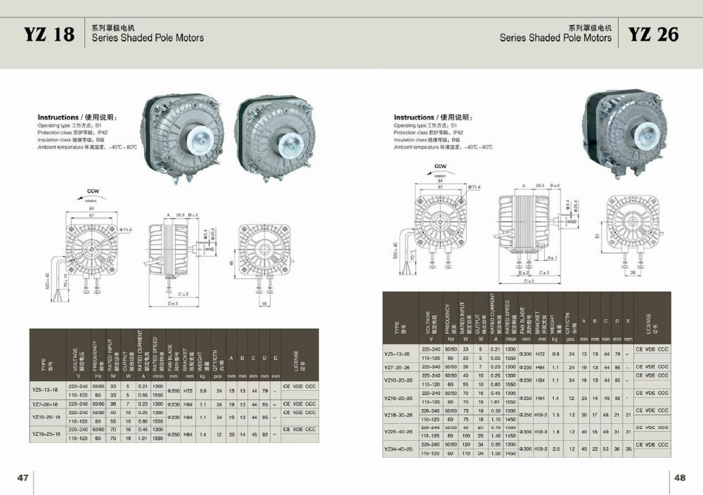 YZ Copper wire shaded pole fan motor for refrigerator - 110V-120V ...