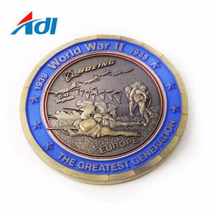 Sob encomenda de lutas da segunda guerra mundial desafio metal moedas das Nações Unidas com o logotipo