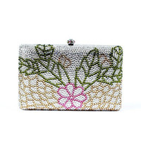 Top quality factory women evening clutch bag with crystal flower pattern party crystal handbags